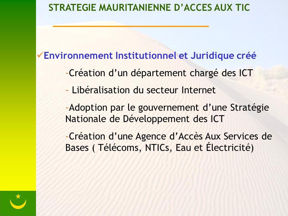 STRATEGIE MAURITANIENNE DACCES AUX TIC Environnement Institutionnel et Juridique créé -Création dun département chargé des ICT - Libéralisation du secteur Internet -Adoption par le gouvernement dune Stratégie Nationale de Développement des ICT -Création dune Agence dAccès Aux Services de Bases ( Télécoms, NTICs, Eau et Électricité)