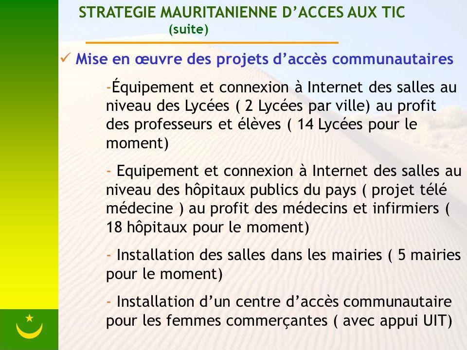 STRATEGIE MAURITANIENNE DACCES AUX TIC (suite) Mise en œuvre des projets daccès communautaires -Équipement et connexion à Internet des salles au nivea