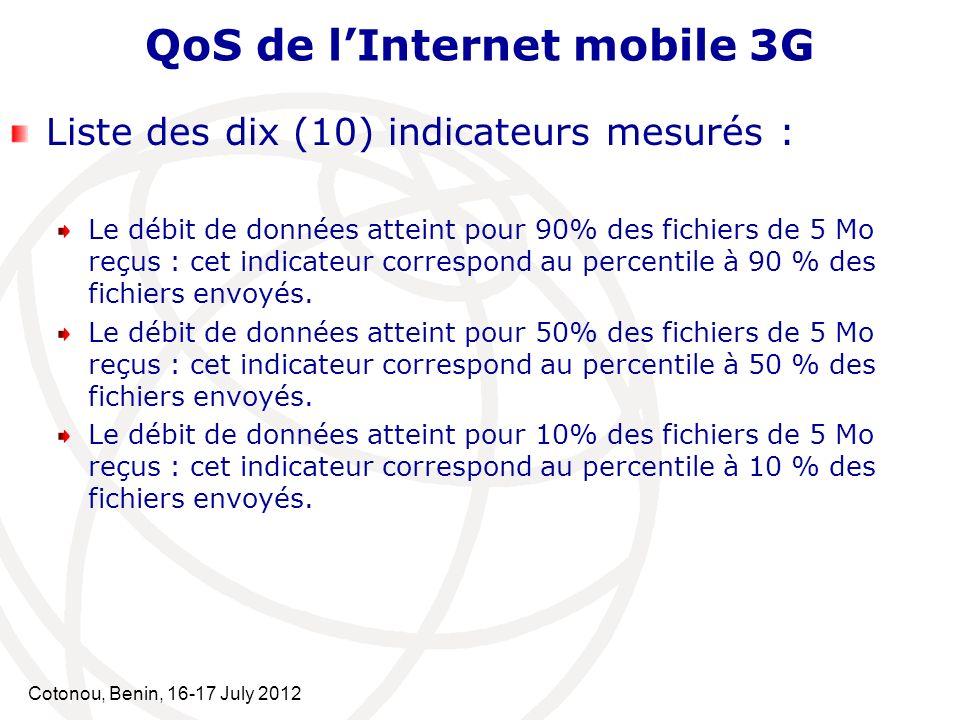 Cotonou, Benin, 16-17 July 2012 QoS de lInternet mobile 3G Liste des dix (10) indicateurs mesurés : Le débit de données atteint pour 90% des fichiers