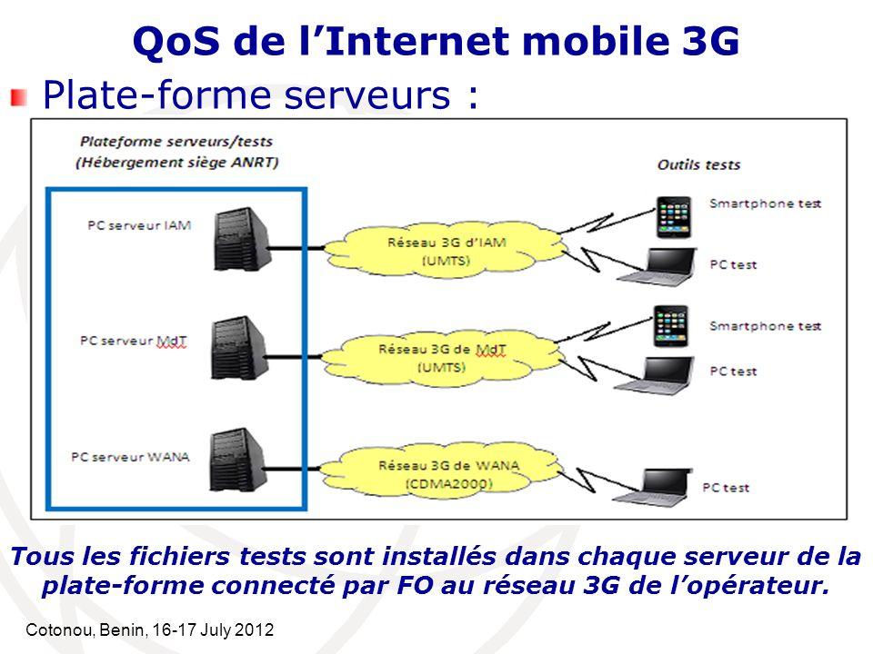 Cotonou, Benin, 16-17 July 2012 QoS de lInternet mobile 3G Plate-forme serveurs : Tous les fichiers tests sont installés dans chaque serveur de la pla