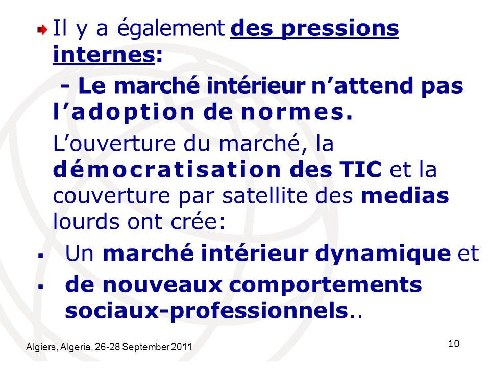 Algiers, Algeria, 26-28 September 2011 10 Il y a également des pressions internes: - Le marché intérieur nattend pas ladoption de normes. Louverture d