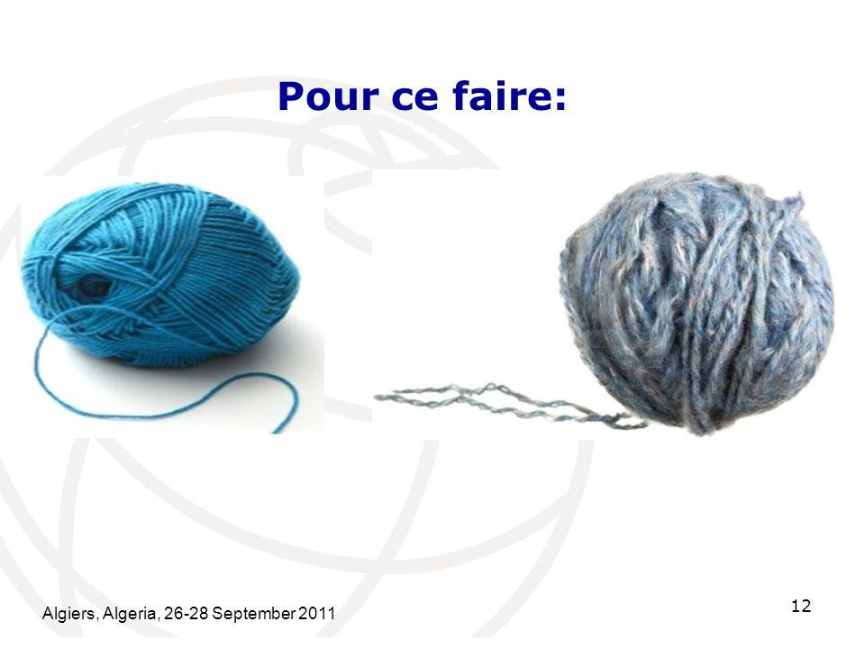 Algiers, Algeria, 26-28 September 2011 12 Pour ce faire: