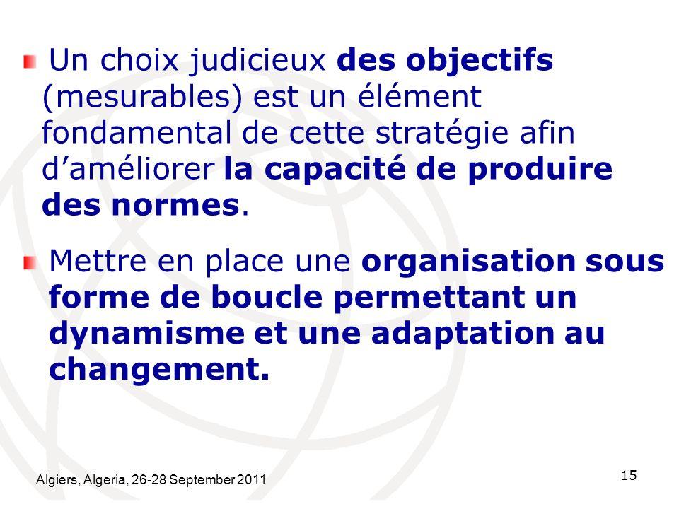 Algiers, Algeria, 26-28 September 2011 15 Un choix judicieux des objectifs (mesurables) est un élément fondamental de cette stratégie afin daméliorer