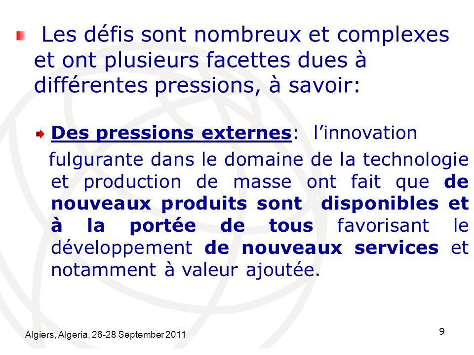 Algiers, Algeria, 26-28 September 2011 10 Il y a également des pressions internes: - Le marché intérieur nattend pas ladoption de normes.