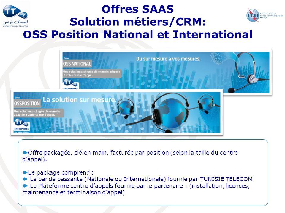 Offres SAAS Solution métiers/CRM: OSS Position National et International Offre packagée, clé en main, facturée par position (selon la taille du centre