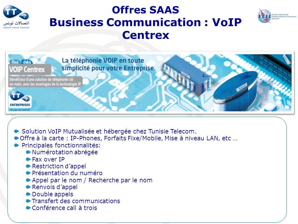 Offres SAAS Business Communication : VoIP Centrex Solution VoIP Mutualisée et hébergée chez Tunisie Telecom. Offre à la carte : IP-Phones, Forfaits Fi