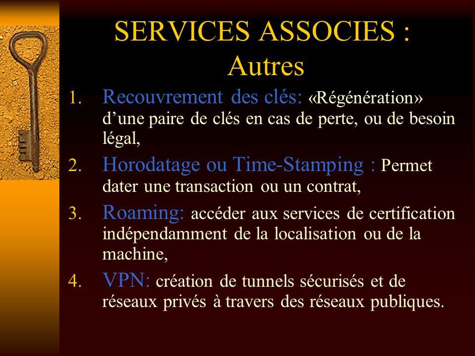 SERVICES ASSOCIES : Autres 1. Recouvrement des clés: «Régénération» dune paire de clés en cas de perte, ou de besoin légal, 2. Horodatage ou Time-Stam