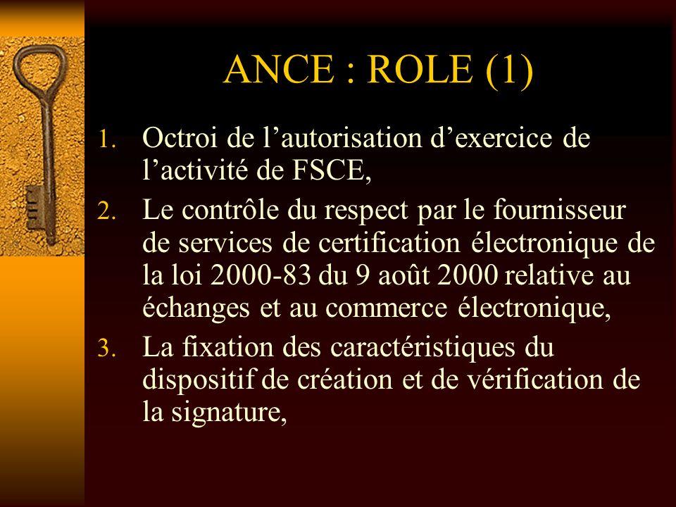 ANCE : ROLE (1) 1. Octroi de lautorisation dexercice de lactivité de FSCE, 2. Le contrôle du respect par le fournisseur de services de certification é