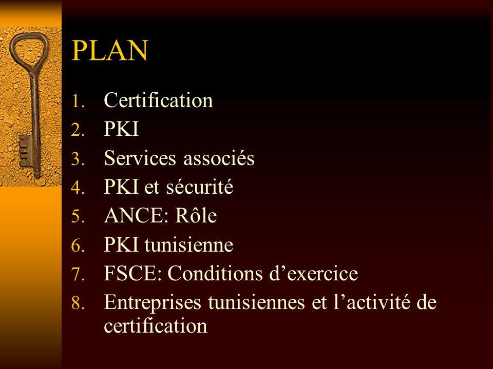 PLAN 1. Certification 2. PKI 3. Services associés 4. PKI et sécurité 5. ANCE: Rôle 6. PKI tunisienne 7. FSCE: Conditions dexercice 8. Entreprises tuni