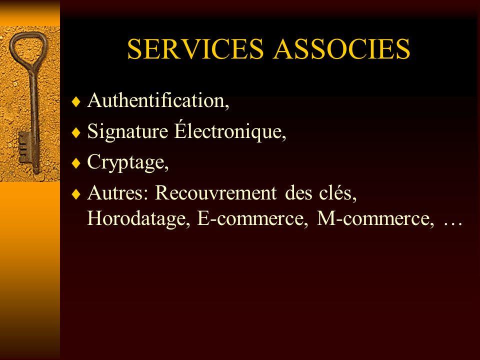 SERVICES ASSOCIES Authentification, Signature Électronique, Cryptage, Autres: Recouvrement des clés, Horodatage, E-commerce, M-commerce, …