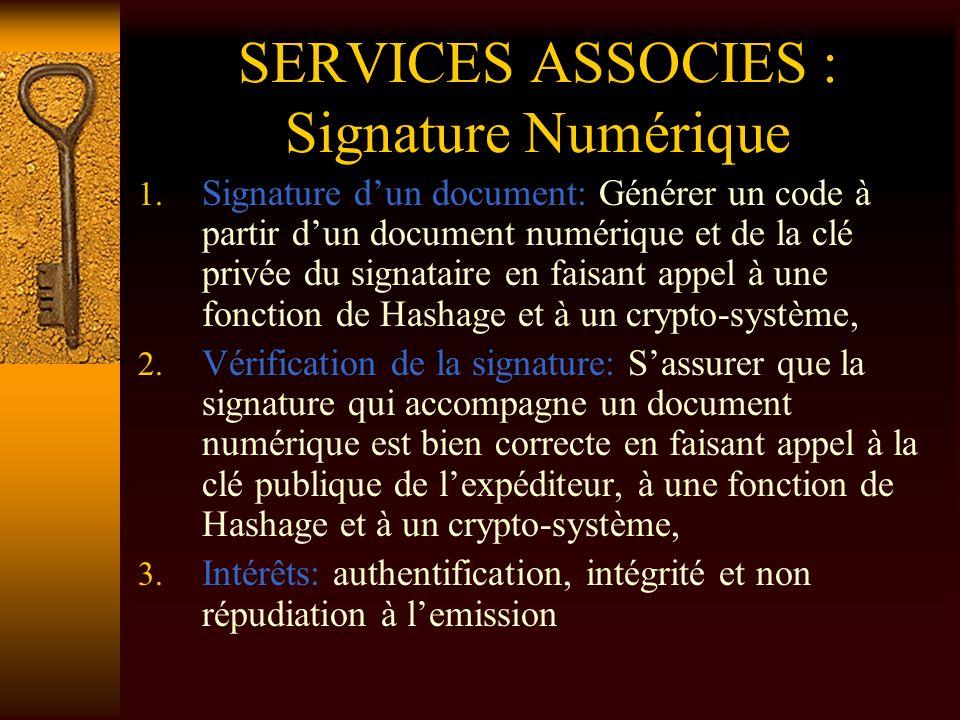 SERVICES ASSOCIES : Signature Numérique 1. Signature dun document: Générer un code à partir dun document numérique et de la clé privée du signataire e