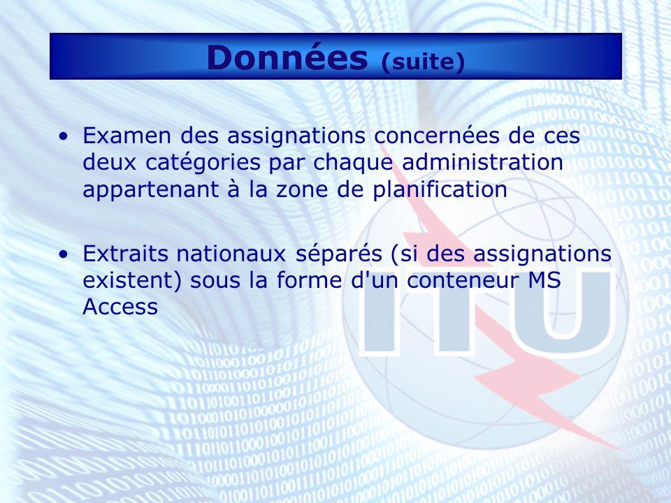 Données (suite) Examen des assignations concernées de ces deux catégories par chaque administration appartenant à la zone de planification Extraits nationaux séparés (si des assignations existent) sous la forme d un conteneur MS Access