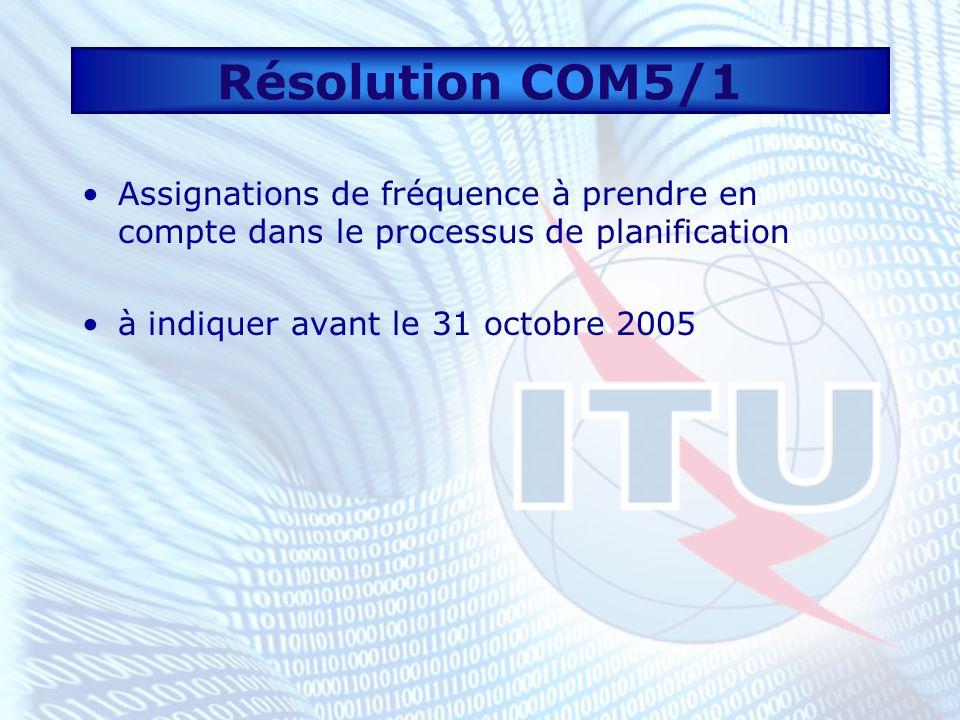 Résolution COM5/1 Assignations de fréquence à prendre en compte dans le processus de planification à indiquer avant le 31 octobre 2005
