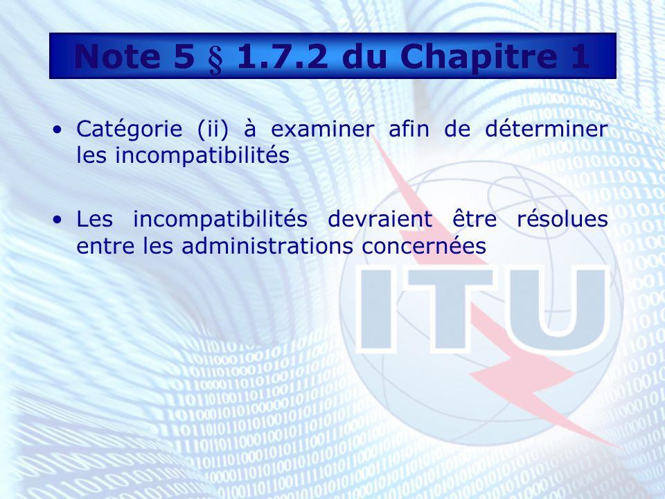 Catégorie (ii) à examiner afin de déterminer les incompatibilités Les incompatibilités devraient être résolues entre les administrations concernées Note 5 § 1.7.2 du Chapitre 1