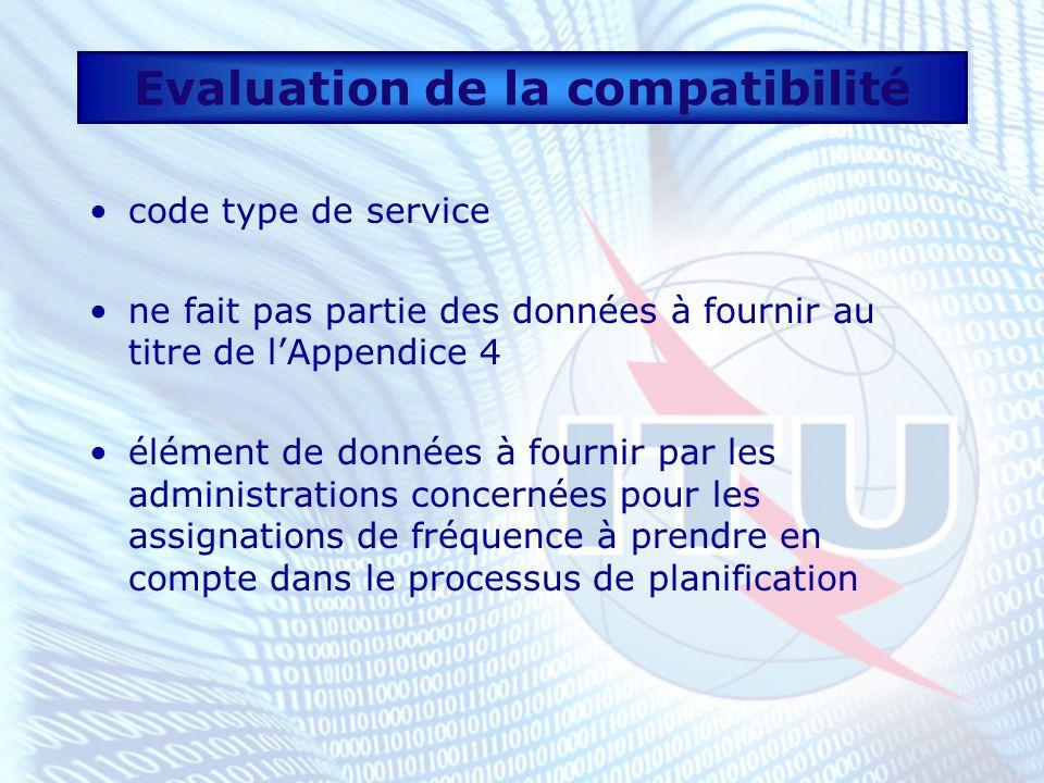 Evaluation de la compatibilité code type de service ne fait pas partie des données à fournir au titre de lAppendice 4 élément de données à fournir par les administrations concernées pour les assignations de fréquence à prendre en compte dans le processus de planification