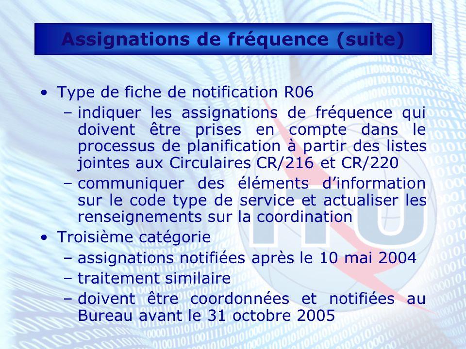 Assignations de fréquence (suite) Type de fiche de notification R06 –indiquer les assignations de fréquence qui doivent être prises en compte dans le processus de planification à partir des listes jointes aux Circulaires CR/216 et CR/220 –communiquer des éléments dinformation sur le code type de service et actualiser les renseignements sur la coordination Troisième catégorie –assignations notifiées après le 10 mai 2004 –traitement similaire –doivent être coordonnées et notifiées au Bureau avant le 31 octobre 2005