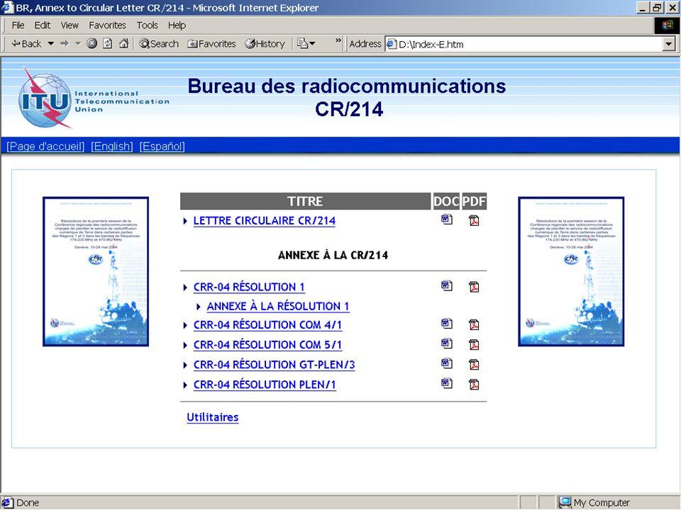 Décisions de la CRR-04 (suite) Protection des services primaires autres que le service de radiodiffusion dans les bandes de fréquences 174-230 MHz et 470-862 MHz Définition des assignations existantes ou en projet qui doivent être prises en compte lors de la conception du nouveau plan § 1.7.2 du Chapitre 1 du Rapport (http://www.itu.int/md/meetingdoc.asp?type= sitems&lang=f&parent=R03-RRC.04-R-0001)