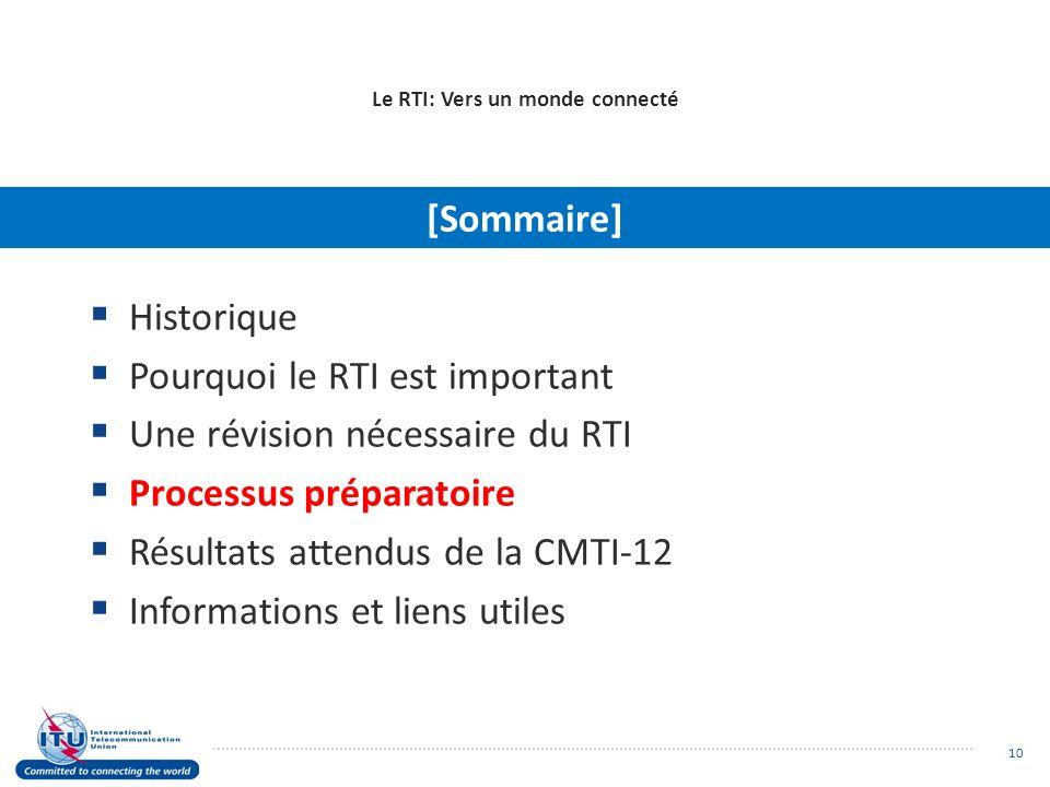 Le RTI: Vers un monde connecté Historique Pourquoi le RTI est important Une révision nécessaire du RTI Processus préparatoire Résultats attendus de la CMTI-12 Informations et liens utiles [Sommaire] 10