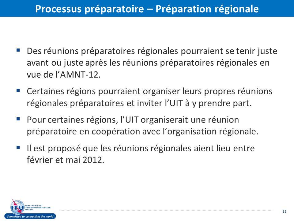 Processus préparatoire – Préparation régionale Des réunions préparatoires régionales pourraient se tenir juste avant ou juste après les réunions préparatoires régionales en vue de lAMNT-12.