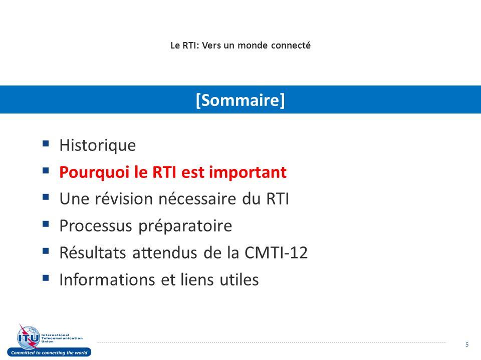 Le RTI: Vers un monde connecté Historique Pourquoi le RTI est important Une révision nécessaire du RTI Processus préparatoire Résultats attendus de la CMTI-12 Informations et liens utiles [Sommaire] 5