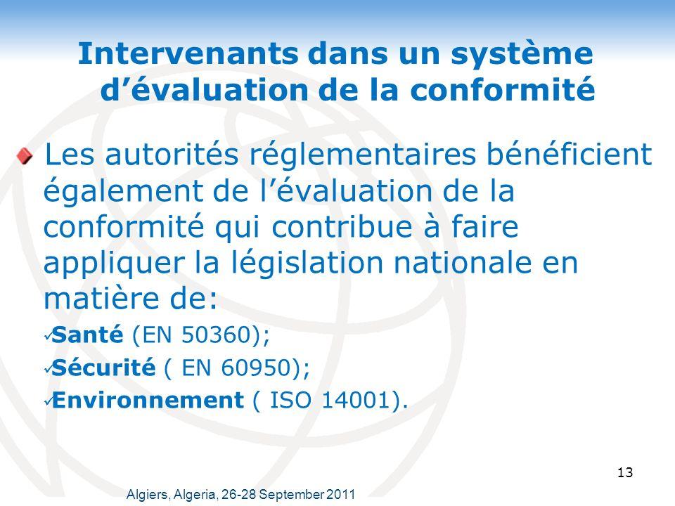 13 Intervenants dans un système dévaluation de la conformité Les autorités réglementaires bénéficient également de lévaluation de la conformité qui contribue à faire appliquer la législation nationale en matière de: Santé (EN 50360); Sécurité ( EN 60950); Environnement ( ISO 14001).