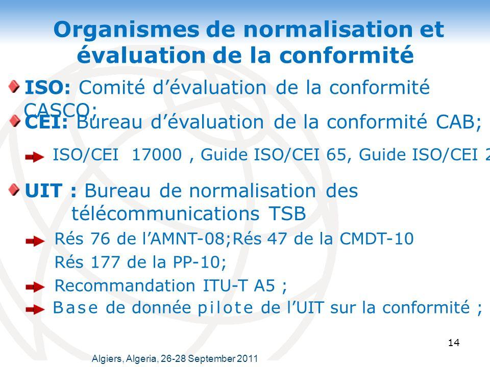 Organismes de normalisation et évaluation de la conformité 14 ISO: Comité dévaluation de la conformité CASCO; ISO/CEI 17000, Guide ISO/CEI 65, Guide ISO/CEI 28 CEI: Bureau dévaluation de la conformité CAB; UIT : Bureau de normalisation des télécommunications TSB Rés 76 de lAMNT-08;Rés 47 de la CMDT-10 Rés 177 de la PP-10; Recommandation ITU-T A5 ; Base de donnée pilote de lUIT sur la conformité ; Algiers, Algeria, 26-28 September 2011