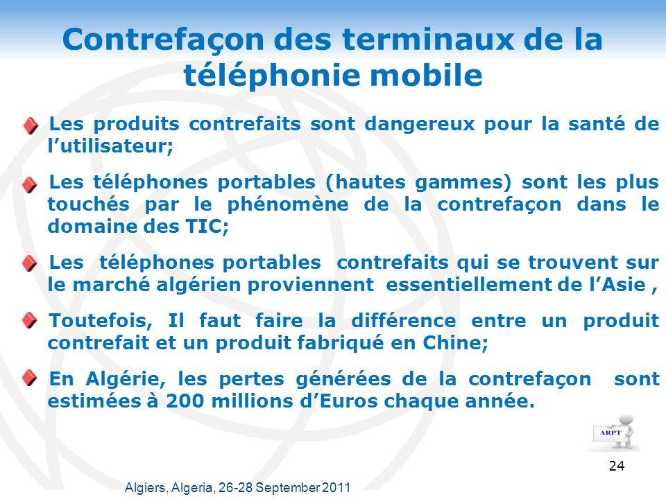 Contrefaçon des terminaux de la téléphonie mobile Les produits contrefaits sont dangereux pour la santé de lutilisateur; Les téléphones portables (hautes gammes) sont les plus touchés par le phénomène de la contrefaçon dans le domaine des TIC; Les téléphones portables contrefaits qui se trouvent sur le marché algérien proviennent essentiellement de lAsie, Toutefois, Il faut faire la différence entre un produit contrefait et un produit fabriqué en Chine; En Algérie, les pertes générées de la contrefaçon sont estimées à 200 millions dEuros chaque année.