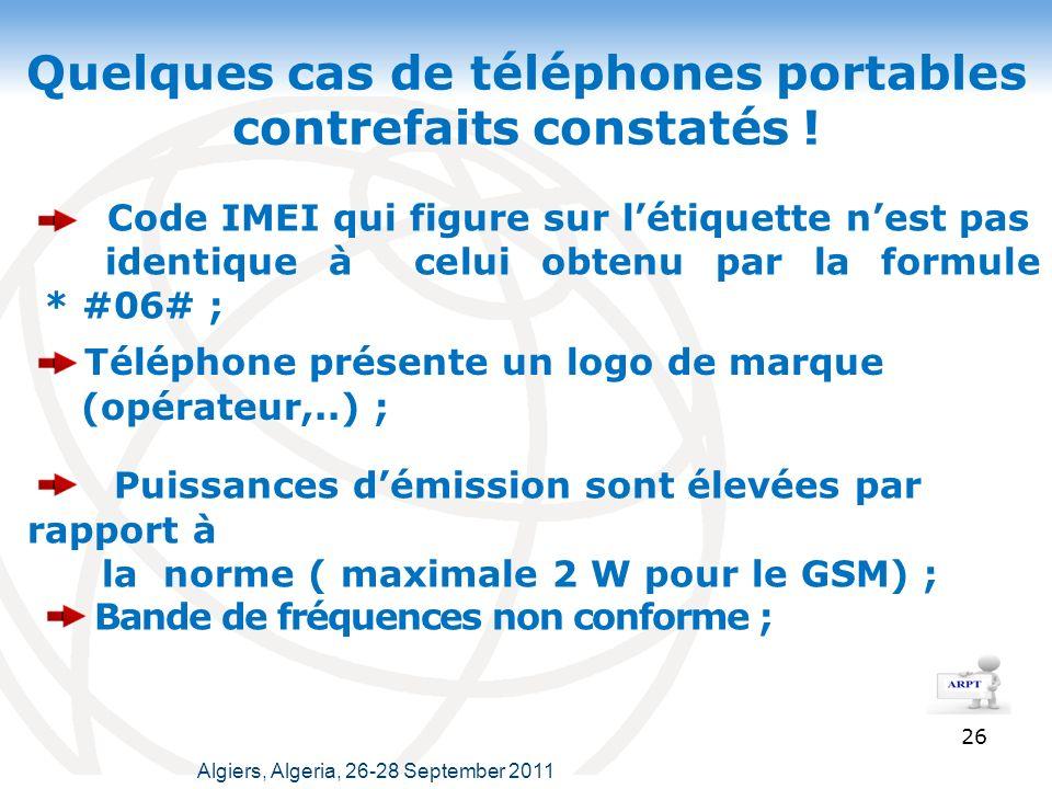 Quelques cas de téléphones portables contrefaits constatés .