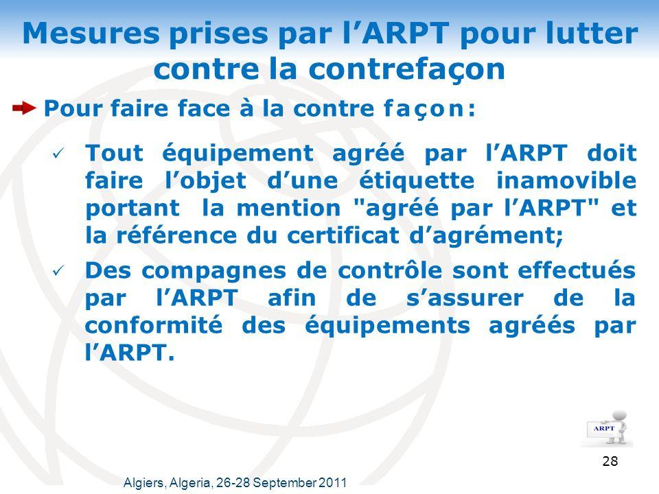Mesures prises par lARPT pour lutter contre la contrefaçon Pour faire face à la contre façon: Tout équipement agréé par lARPT doit faire lobjet dune étiquette inamovible portant la mention agréé par lARPT et la référence du certificat dagrément; 28 Des compagnes de contrôle sont effectués par lARPT afin de sassurer de la conformité des équipements agréés par lARPT.