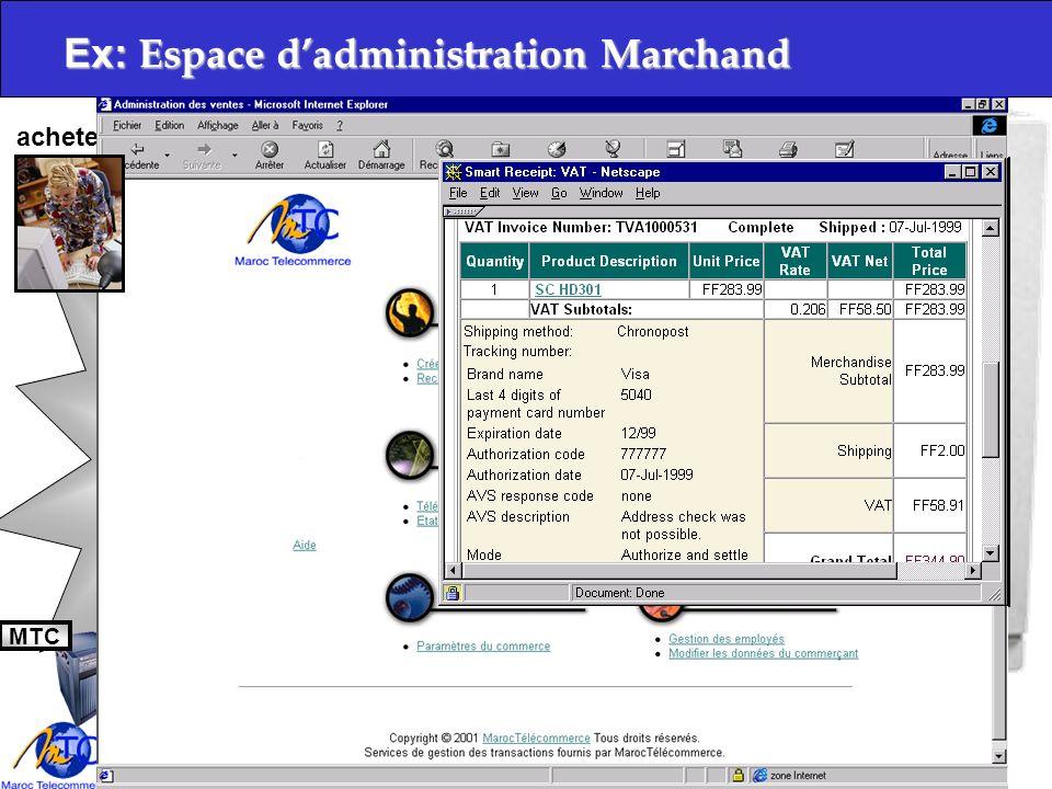 Copyright 2001, Maroc Télécommerce S.A IntranetInternet Ex: Client anonyme/biens immatériels Boutique Acheteur MTC