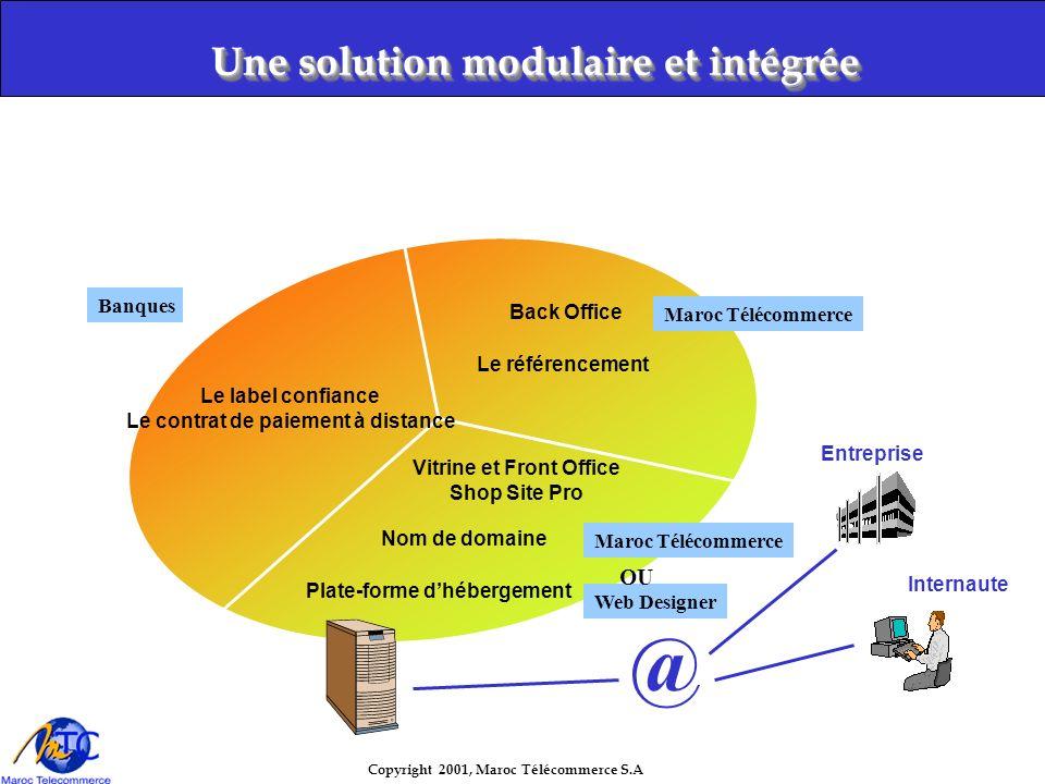 Copyright 2001, Maroc Télécommerce S.A Notre cible : l entreprise commerçante ( quelle que soit sa taille ) Notre prestation : prise en charge totale