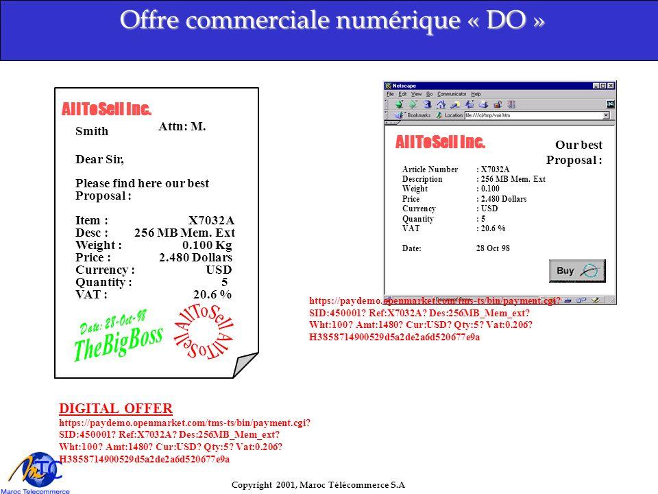 Copyright 2001, Maroc Télécommerce S.A Notre cible : l entreprise commerçante ( quelle que soit sa taille ) Notre prestation : prise en charge totale de son projet Notre point fort : qualité - confiance grâce à des partenaires sérieux et motivés Loffre commerciale de Maroc Télécommerce