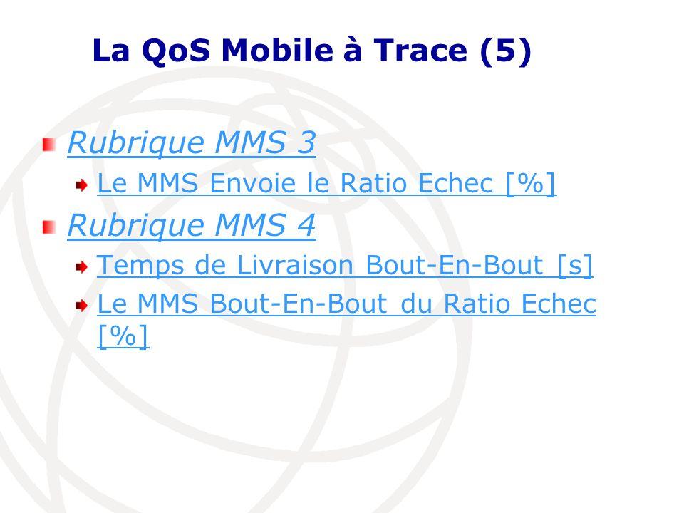 La QoS Mobile à Trace (5) Rubrique MMS 3 Le MMS Envoie le Ratio Echec [%] Rubrique MMS 4 Temps de Livraison Bout-En-Bout [s] Le MMS Bout-En-Bout du Ra