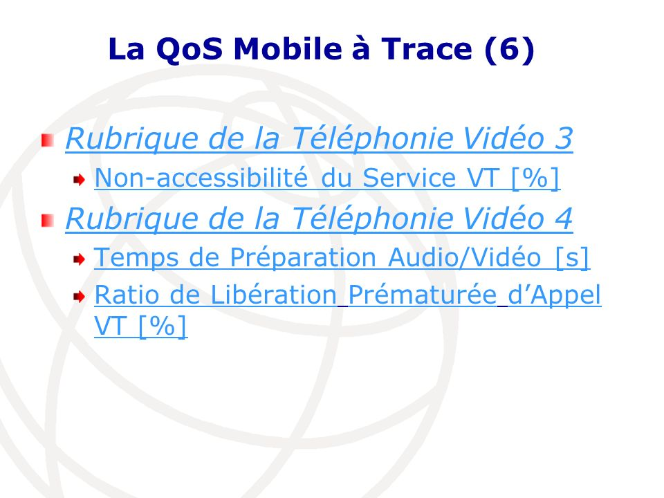La QoS Mobile à Trace (6) Rubrique de la Téléphonie Vidéo 3 Non-accessibilité du Service VT [%] Rubrique de la Téléphonie Vidéo 4 Temps de Préparation