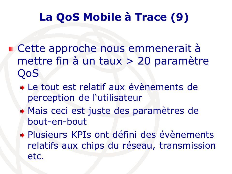 La QoS Mobile à Trace (9) Cette approche nous emmenerait à mettre fin à un taux > 20 paramètre QoS Le tout est relatif aux évènements de perception de