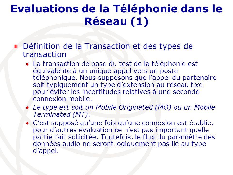 Evaluations de la Téléphonie dans le Réseau (1) Définition de la Transaction et des types de transaction La transaction de base du test de la téléphon