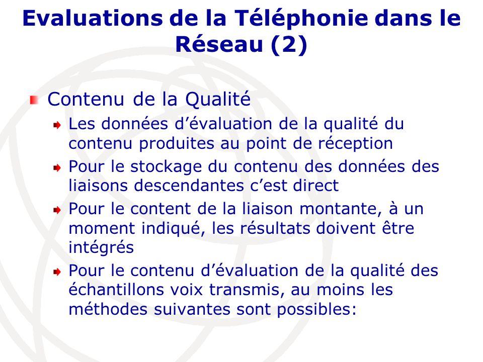 Evaluations de la Téléphonie dans le Réseau (2) Contenu de la Qualité Les données dévaluation de la qualité du contenu produites au point de réception