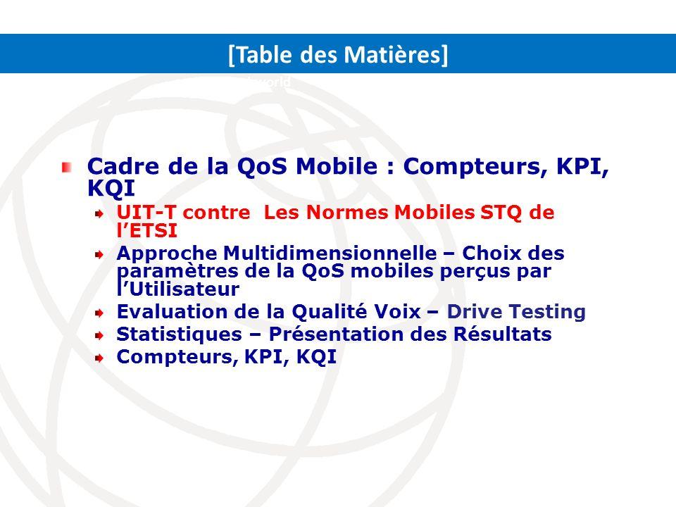 Travaux de lUIT-T sur la QoS Mobile (1) LUIT-T na point de normes détaillées sur la QoS Mobile Lindustrie ici se repose sur une solution du compteur du réseau principal à cause des différentes tendances/philosophies QoS Ainsi elle hésite à normaliser les KPIs au sein de lUIT-T Dabord les Recommandations UIT-T sur la QoS couvrent Les aspects des conditions du Terminal Les aspects de la qualité bout-en-bout Les aspects portant perceptions de lutilisateur Mais pas les KPIs détaillés pour le Mobile