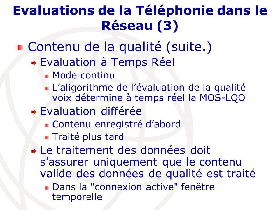 Evaluations de la Téléphonie dans le Réseau (3) Contenu de la qualité (suite.) Evaluation à Temps Réel Mode continu Laligorithme de lévaluation de la