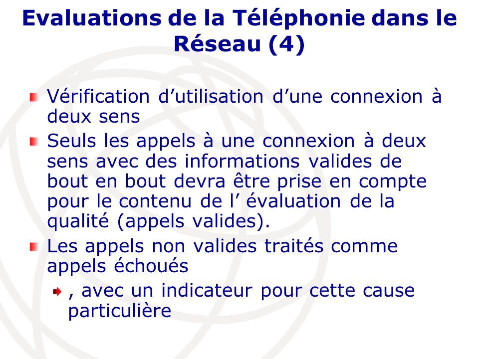 Evaluations de la Téléphonie dans le Réseau (4) Vérification dutilisation dune connexion à deux sens Seuls les appels à une connexion à deux sens avec