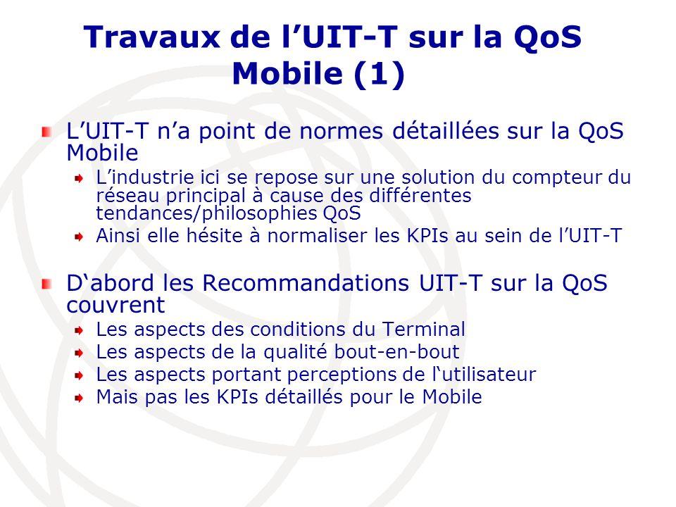 Travaux de lUIT-T sur la QoS Mobile (1) LUIT-T na point de normes détaillées sur la QoS Mobile Lindustrie ici se repose sur une solution du compteur d