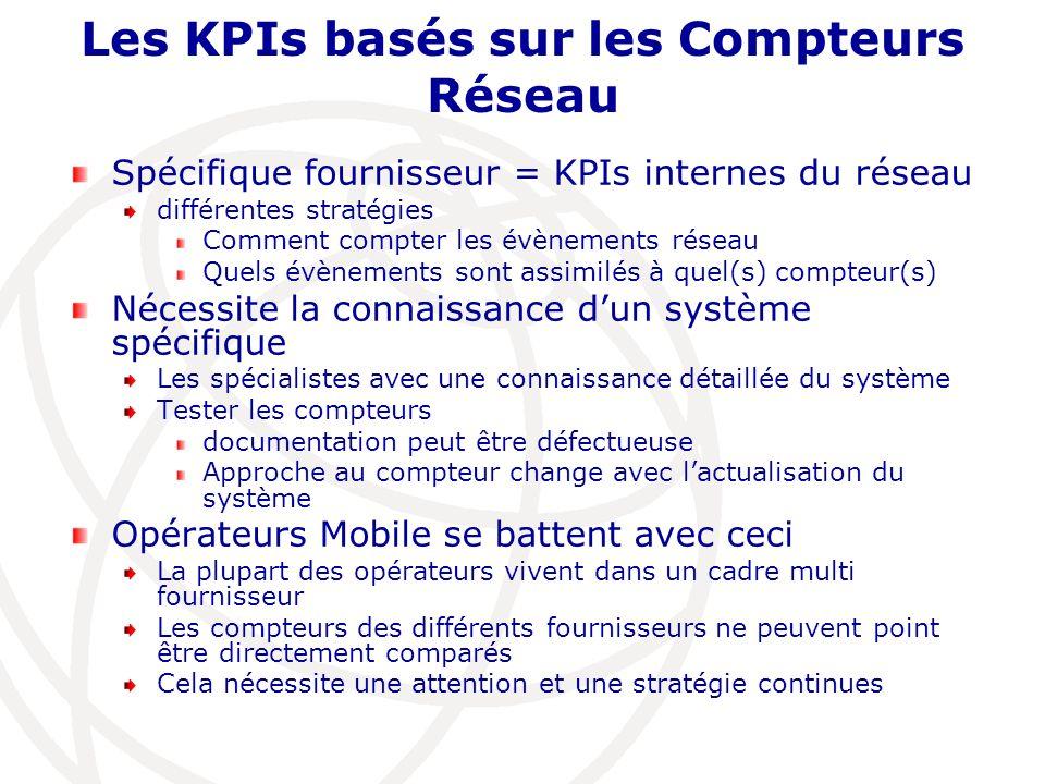 Les KPIs basés sur les Compteurs Réseau Spécifique fournisseur = KPIs internes du réseau différentes stratégies Comment compter les évènements réseau