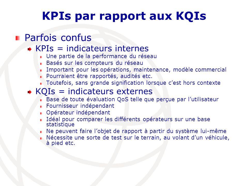KPIs par rapport aux KQIs Parfois confus KPIs = indicateurs internes Une partie de la performance du réseau Basés sur les compteurs du réseau Importan