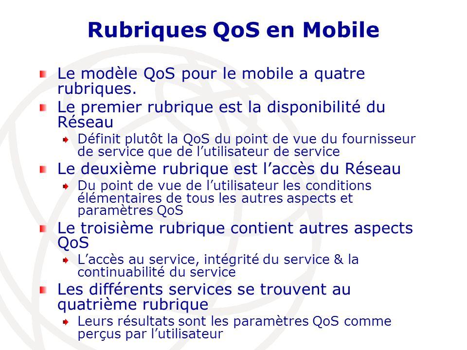 Rubriques QoS en Mobile Le modèle QoS pour le mobile a quatre rubriques. Le premier rubrique est la disponibilité du Réseau Définit plutôt la QoS du p