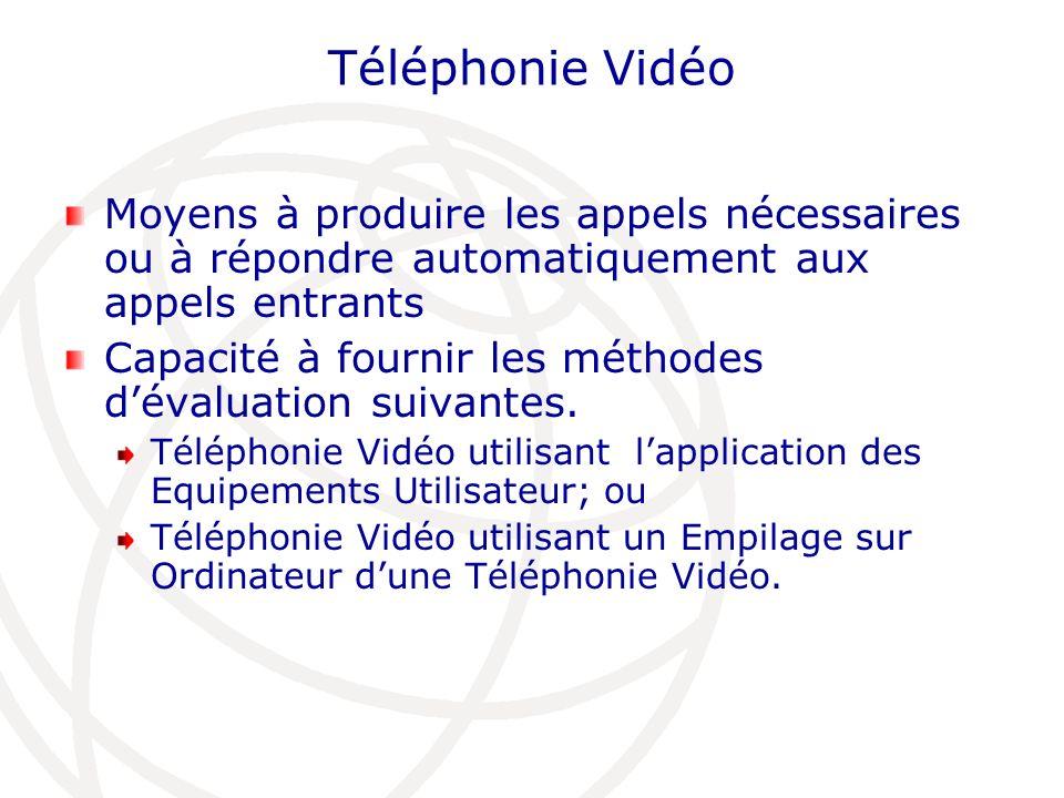 Téléphonie Vidéo Moyens à produire les appels nécessaires ou à répondre automatiquement aux appels entrants Capacité à fournir les méthodes dévaluatio