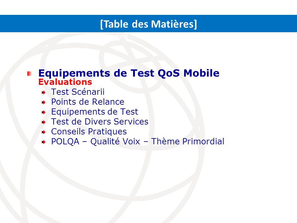 Equipements de Test QoS Mobile Evaluations Test Scénarii Points de Relance Equipements de Test Test de Divers Services Conseils Pratiques POLQA – Qual