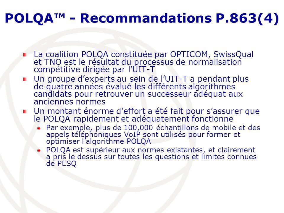 POLQA - Recommandations P.863(4) La coalition POLQA constituée par OPTICOM, SwissQual et TNO est le résultat du processus de normalisation compétitive