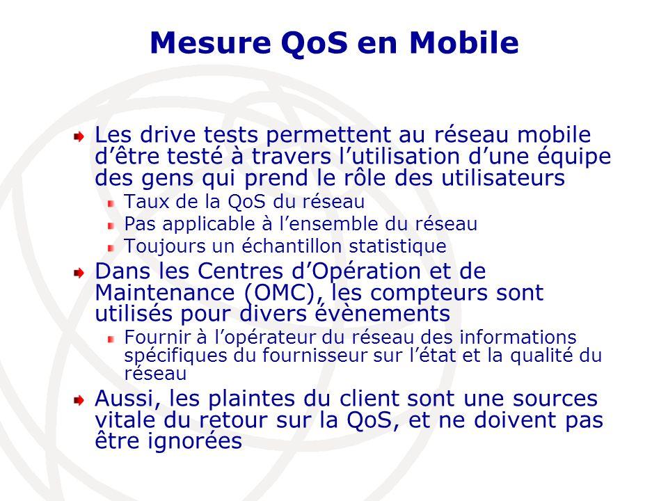 Mesure QoS en Mobile Les drive tests permettent au réseau mobile dêtre testé à travers lutilisation dune équipe des gens qui prend le rôle des utilisa