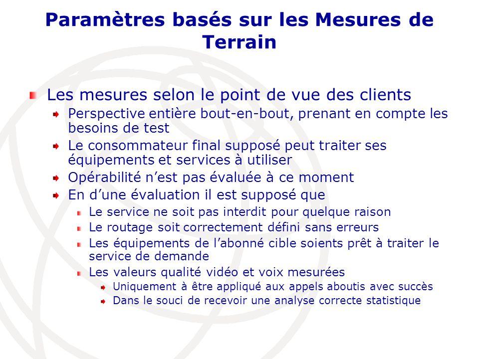 Paramètres basés sur les Mesures de Terrain Les mesures selon le point de vue des clients Perspective entière bout-en-bout, prenant en compte les beso