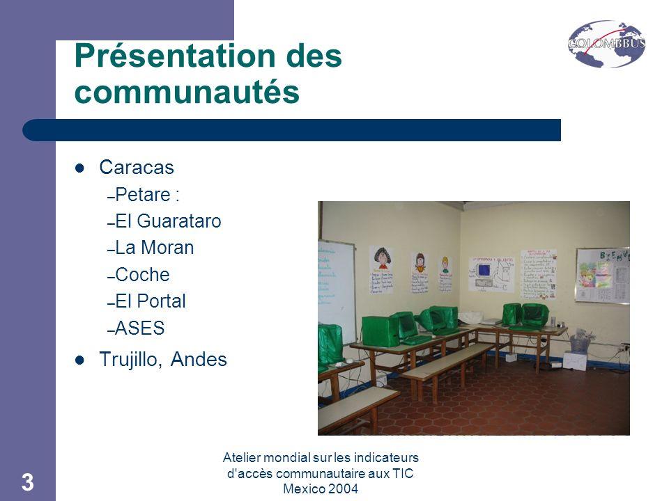 Atelier mondial sur les indicateurs d accès communautaire aux TIC Mexico 2004 3 Présentation des communautés Caracas – Petare : – El Guarataro – La Moran – Coche – El Portal – ASES Trujillo, Andes